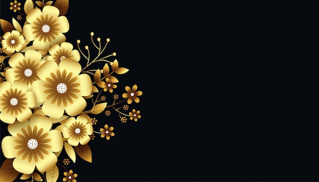 Attractive luxurious golden 3d flowers background