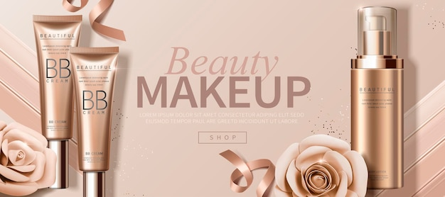 Attractive makeup banner   with paper roses and foundation product
