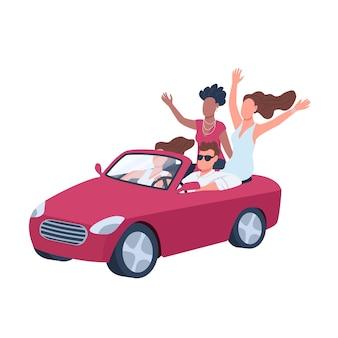 女の子のフラットカラーの顔のないキャラクターに囲まれた車の中で魅力的な男。ぶらぶらしている若者。ウェブグラフィックデザインとアニメーションの赤いカブリオレ孤立漫画イラストの男