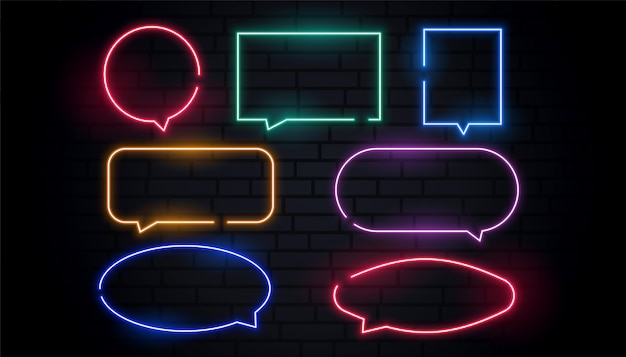 Attractive neon chat bubbles set in many colors