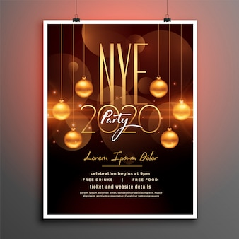 Attractive new year party flyer in golden theme