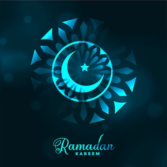 Attractive ramadan kareem glowing moon background