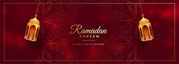 Attractive red ramadan kareem decorative banner Free Vector