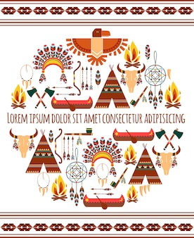Привлекательные бесшовные цветные племенные американский значок метки изолированные