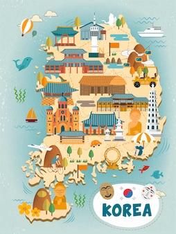 평면 스타일의 매력적인 한국 여행지도