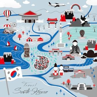 평면 스타일의 매력적인 한국 여행 포스터