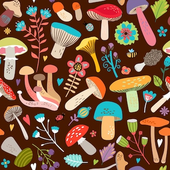 Attractive various cartooned leaves and mushrooms graphic design on seamless brown background.