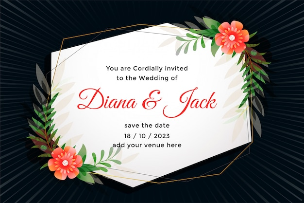Attractive wedding card with flower decoration