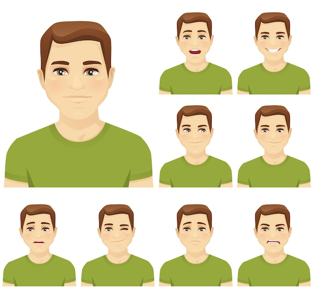 격리 설정 다른 얼굴 표정으로 매력적인 젊은 남자
