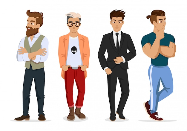 Attractive young mans in fashionable clothes.