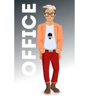 Attractive young men in fashionable clothes. young hipster. cute cartoon man. successful young people.  illustration on the white background.