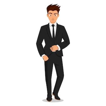 エレガントなオフィス服の魅力的な若い男性。青年実業家。かわいい漫画の男。成功した若者。白い背景のイラスト。