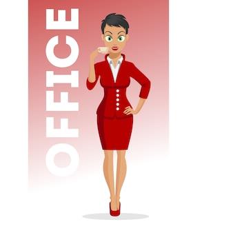 手にコーヒーカップを持つ魅力的な若い女性。キャラクター 。ビジネスの少女。オフィスレディー。美しいスタイルでかわいい若い女性。セクシーな女性。白い背景のイラスト。