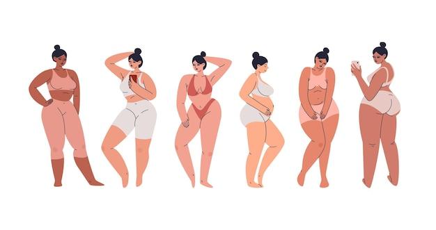 볼륨 감있는 몸매를 가진 매력적인 젊은 여성. 란제리와 운동복을 입은 플러스 사이즈 여성 그룹