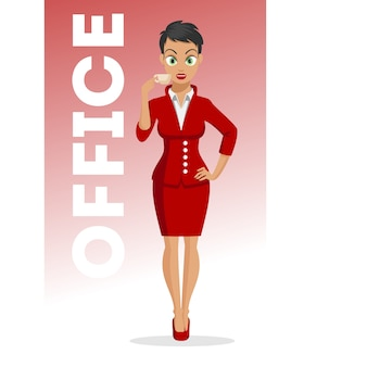 Attractive young women with a cup of coffee in hand. character . business girl. office lady. cute young women in beautiful style. sexy woman.  illustration on the white background.