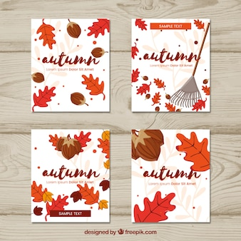 Atumn cards with acorns, leaves and rake