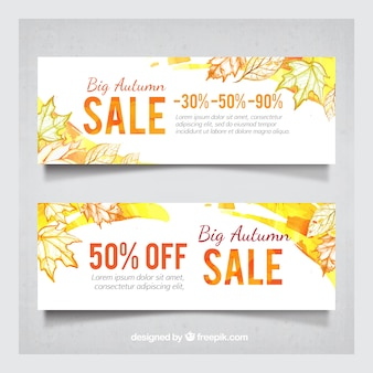 Atumn sale with watercolor style