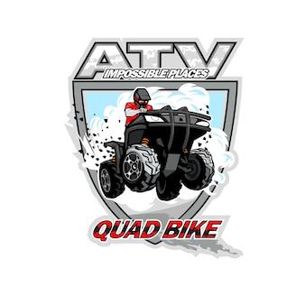 Atv quadバイクのロゴ