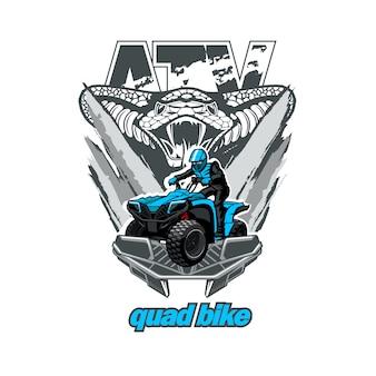 ヘビのロゴが付いたatvクワッドバイク