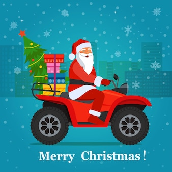 Atv with santa claus, christmas tree and gift boxes.