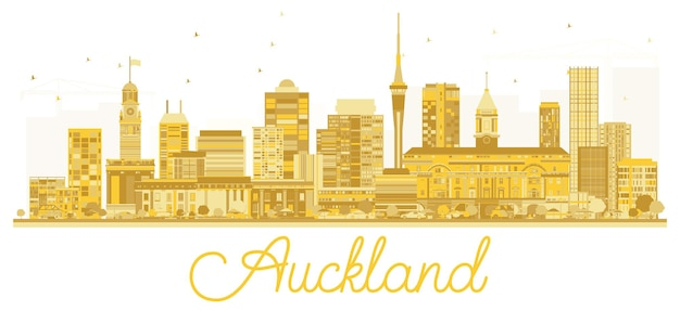 Auckland new zealand city skyline golden silhouette. vector illustration. simple flat concept for tourism presentation, banner, placard or web site. auckland cityscape with landmarks.