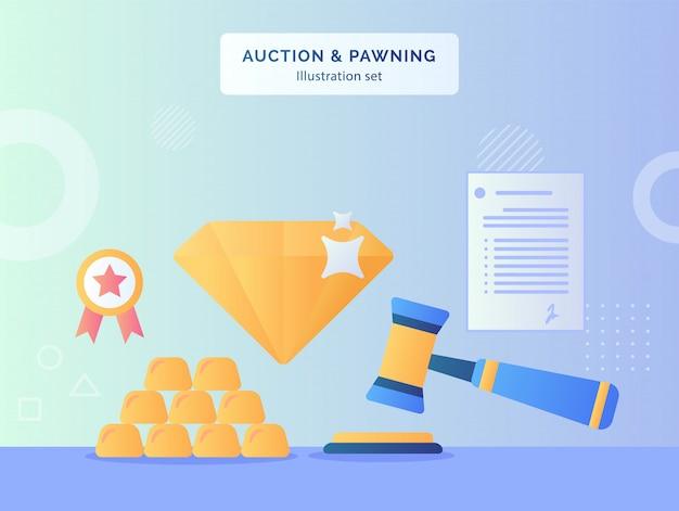 オークションとポーニングのイラストは、フラットスタイルのダイヤモンドゴールド認定リボンドキュメント契約のハンマー背景を設定します。