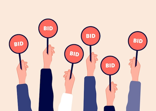 Auction bidding. hands holding bids. sale and buyers, business competitors on financial auctioneer. flat arm with tablet  illustration. bidder auction, hand holds bid paddle