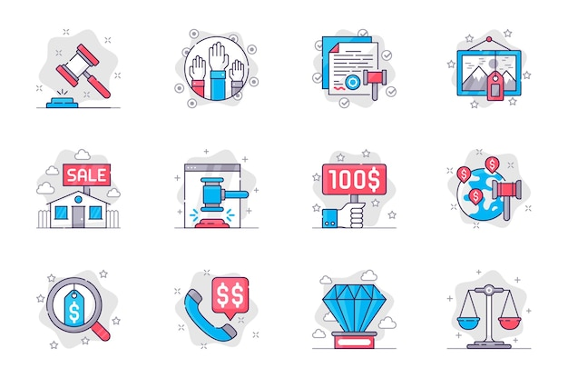 Auction concept flat line icons set auction business and sale of valuable lots for mobile app