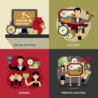 Набор иконок аукциона концепции