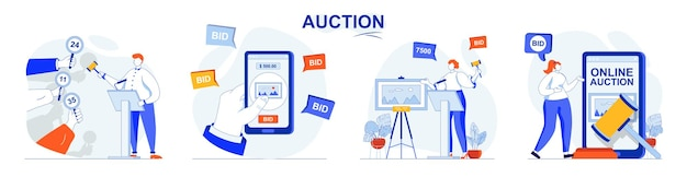 Auction concept set selling painting buyers place bids buying in online auction