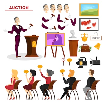 Auction concept. taking action in auction and bidding price