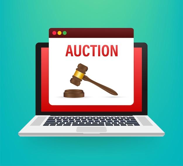 Иконка молоток аукциона в мультяшном стиле, изолированные на экране ноутбука. фондовый вектор иллюстрация символа электронной коммерции.