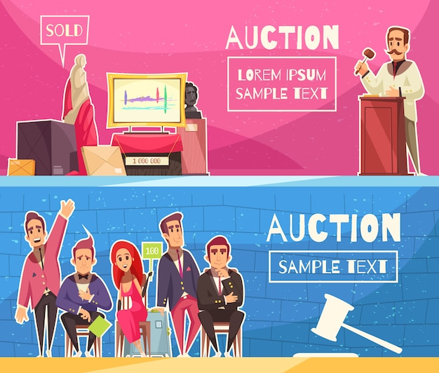 Auction horizontal banners set