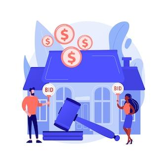 オークションハウス抽象概念ベクトルイラスト。住宅および商業用不動産のオークション、オンラインでの資産の売買、独占入札、連続入札、ビジネスオークションの抽象的な比喩。