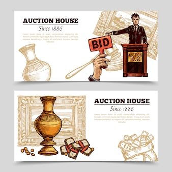 Auction house hand drawn banners