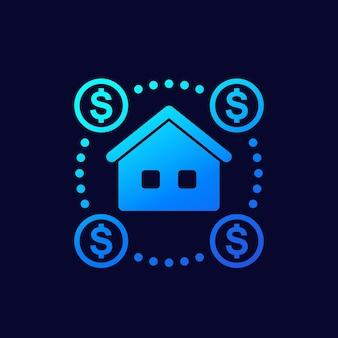 경매 집 벡터 아이콘, 부동산 개념