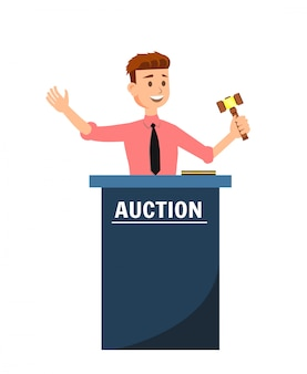 Auction house and young man auctioneer with gavel.