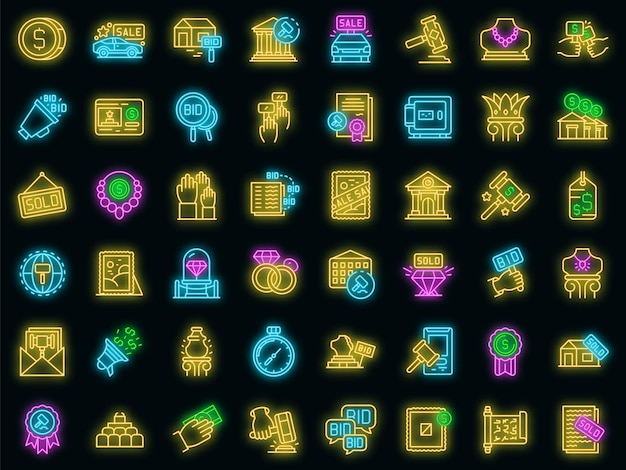 Auction icons set vector neon