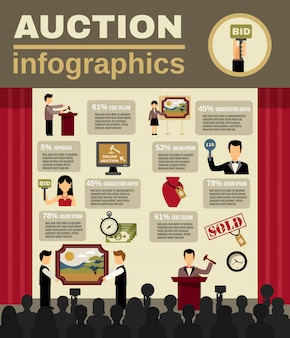 Аукцион infographic set