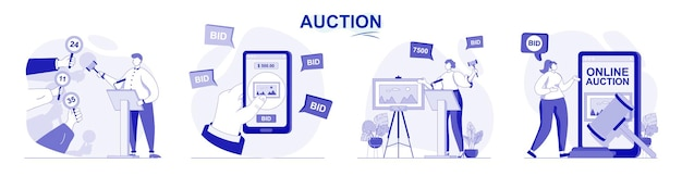 Auction isolated set in flat design people selling and buying painting art buyers bidding lots