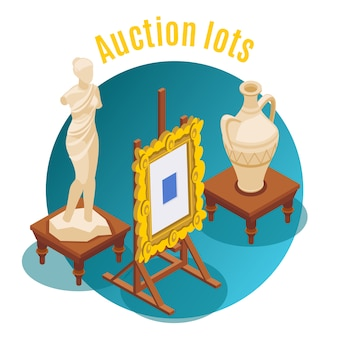 Auction isometric auction lots headline and round shape emblem  illustration