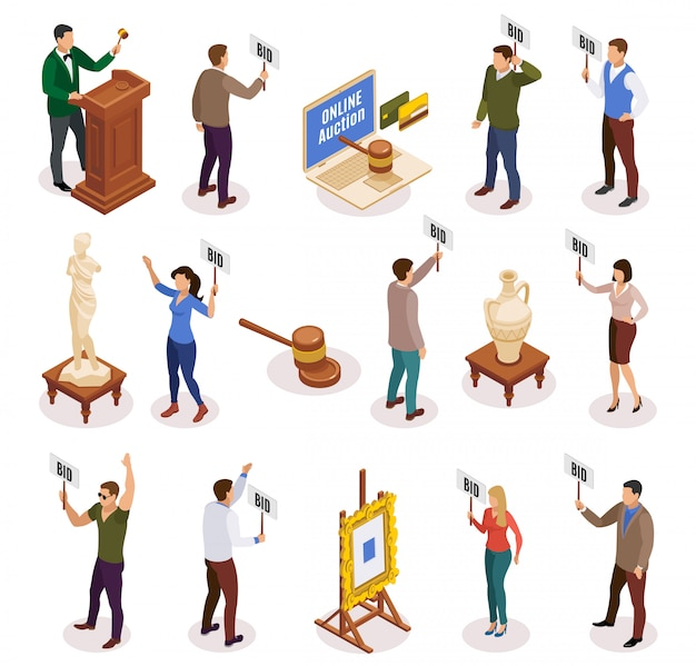 Auction isometric and isolated icon set with people with nameplate in their hands illustration