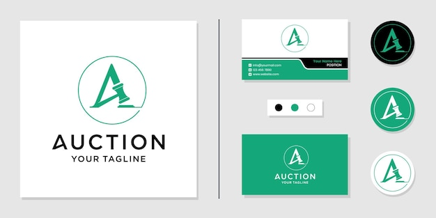 Auction logo initial letter a and business card design template inspiration