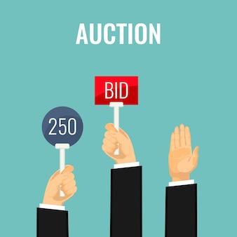 Аукционная встреча и руки держат весла с надписями числа и заявки. иллюстрация покупки вещей на аукционе путем подъема специальной лопатки и предложения суммы. процесс торгов