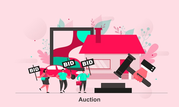 Дизайн веб-концепции аукциона в плоском стиле с персонажами крошечных человечков