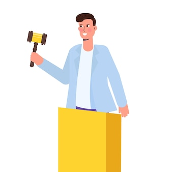 Auction with man holding gavel. vector illustration.