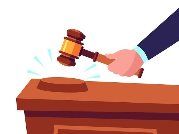 競売人はガベルを手に持って商品を販売し、入札を申し出ます。製品の購入または購入。罰を与える儀式用の木製ハンマーで裁判官。裁判所のベクトル図の槌