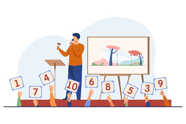 Auctioneer with hammer selling artwork on stage. buyers holding signs with offers flat vector illustration. auction, trade, bidding