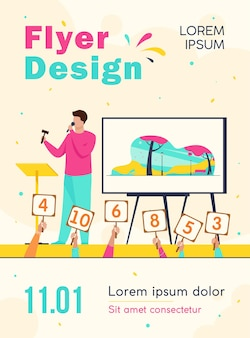 Auctioneer with hammer selling artwork on stage flyer template