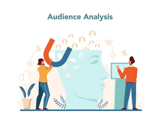 オーディエンス分析。広告とマーケティングの概念。